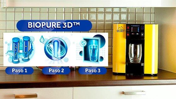 dispensador de agua pura pure amarillo en cocina con sistema de filtracion biopure 3d para casa